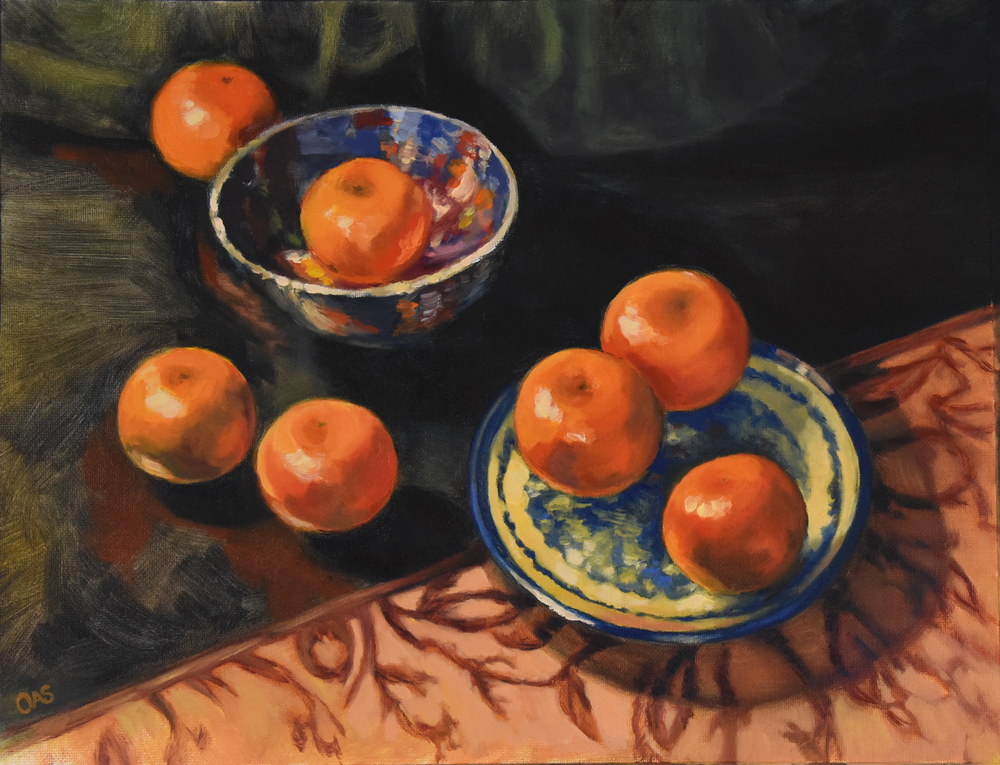 Still Life with Clementines and Turkish Plates  2016 12x16  oil on canvas
