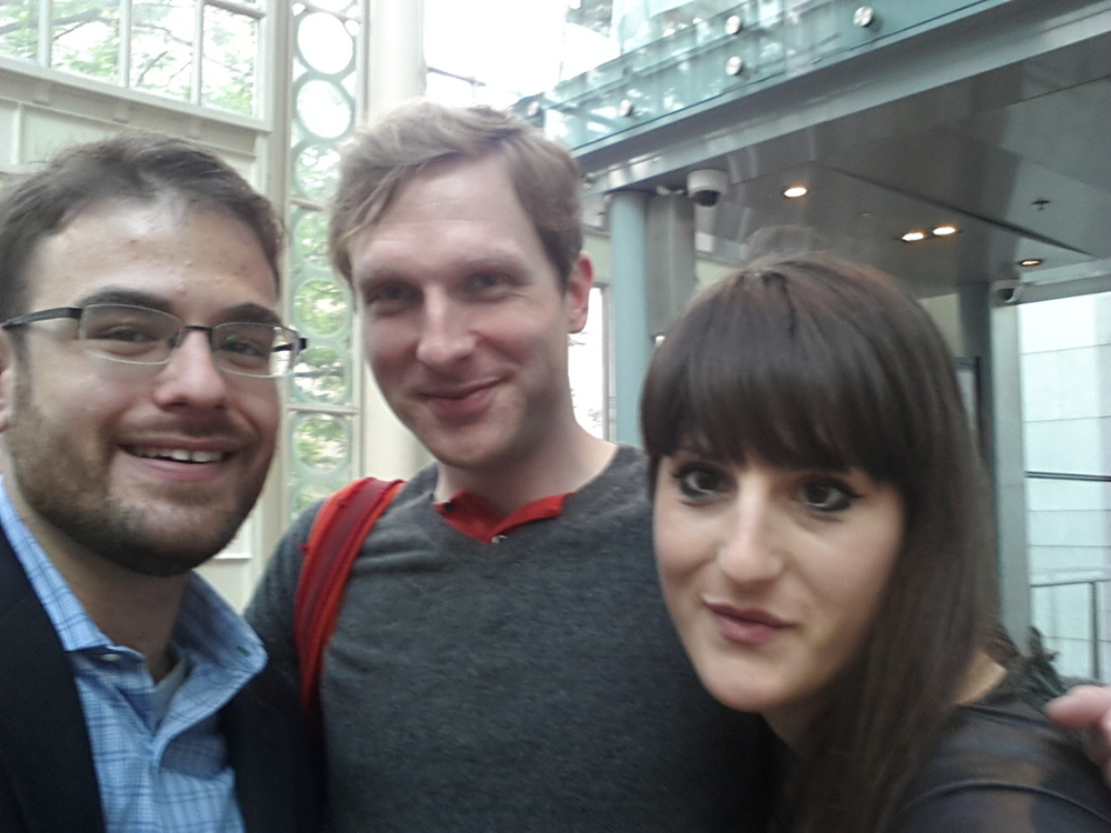 Three very happy opera makers! From L-to-R, Evan Kassof, Aleksandar Hut Kono, and Ruth Mariner.