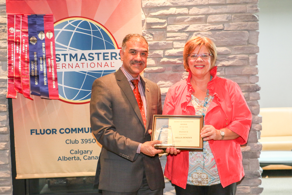 Helga Bender, award winning speaker, with Toastmasters Intl. President Mohammed Murad of Dubai.