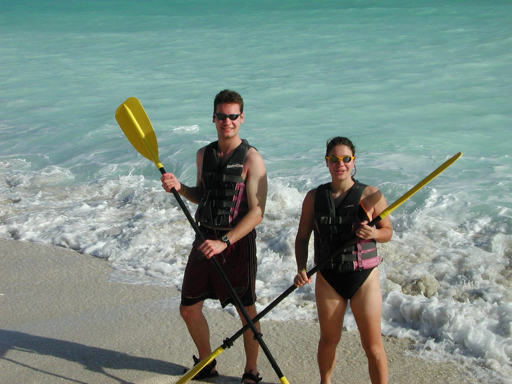 Ben and his sister, going ocean kayaking on a family holiday