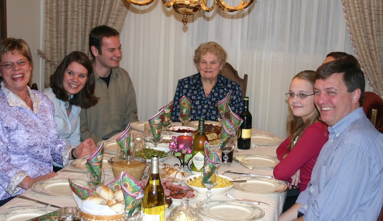 This is one section of our thanksgiving table, after Opa passed away and Oma sat at the head. Ben is on the left.