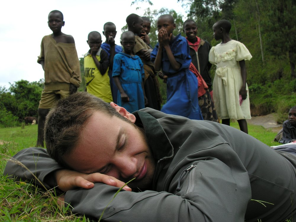 "My son, Ben, pretending he was ""sleeping on the job"", at Wellspring Academy, Rwanda."
