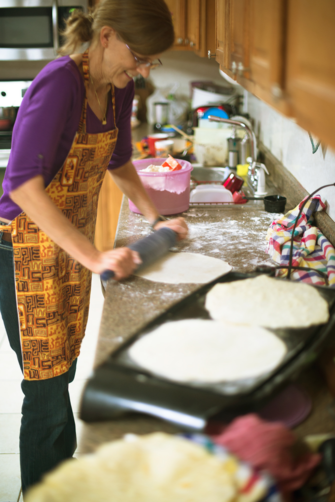 House Family Quiet Kilgore Texas Naomi VanDoren Mother rolling making home made tortillas