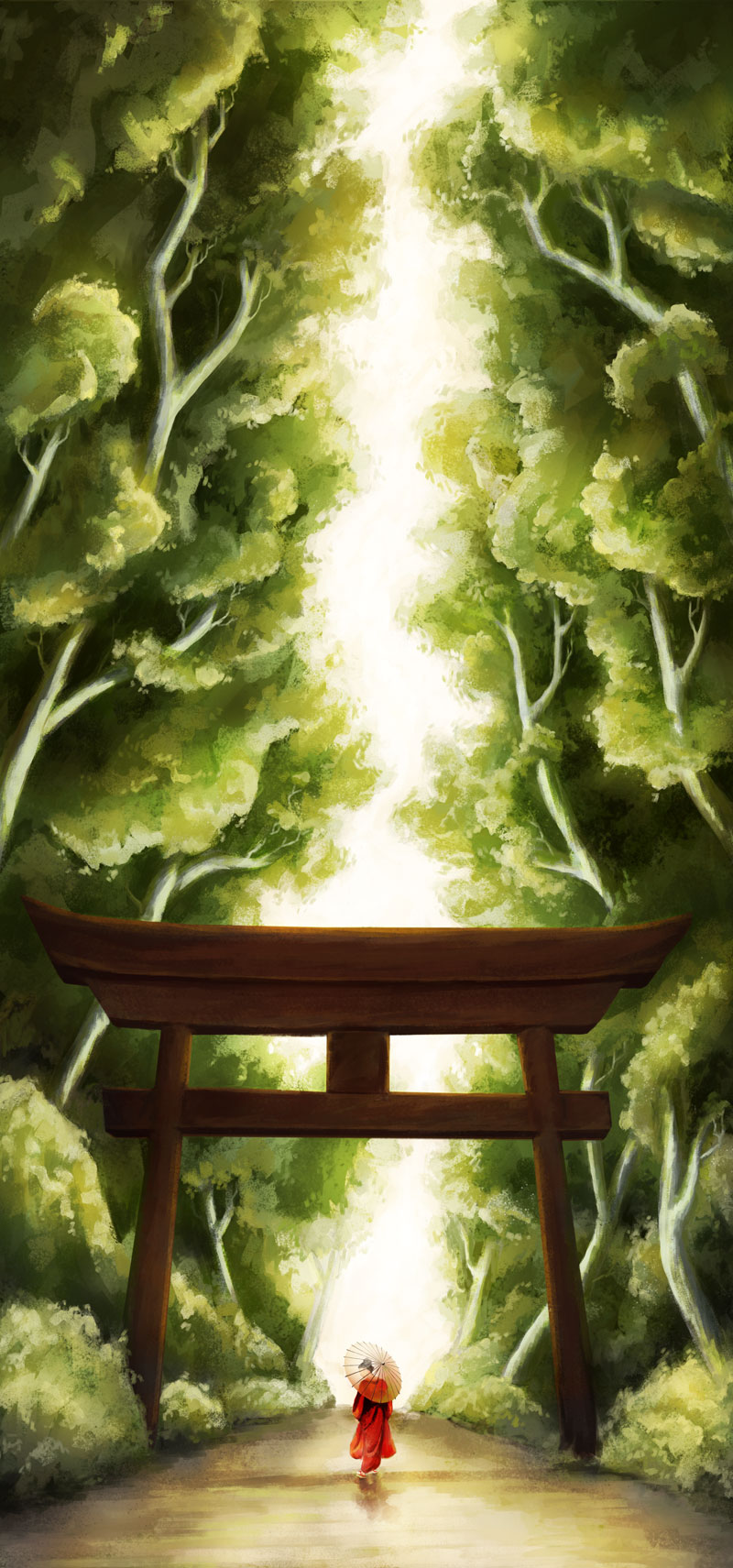 Torii Path Digital Painting NaomiVanDoren.com