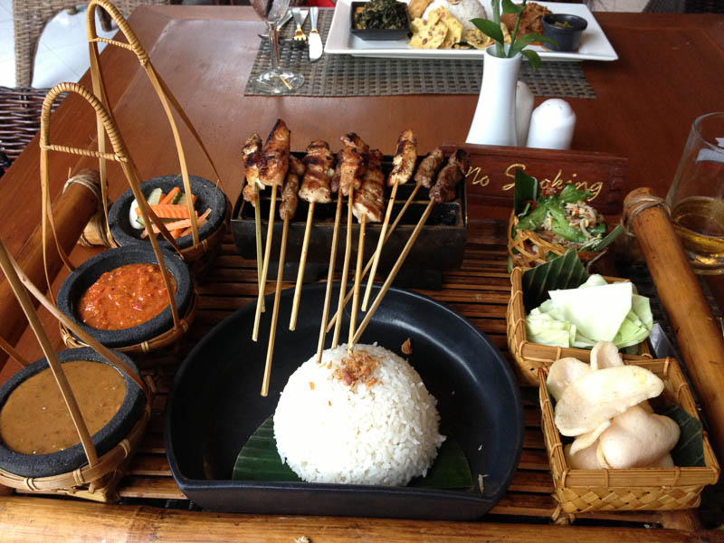 Chicken, beef, and pork satay