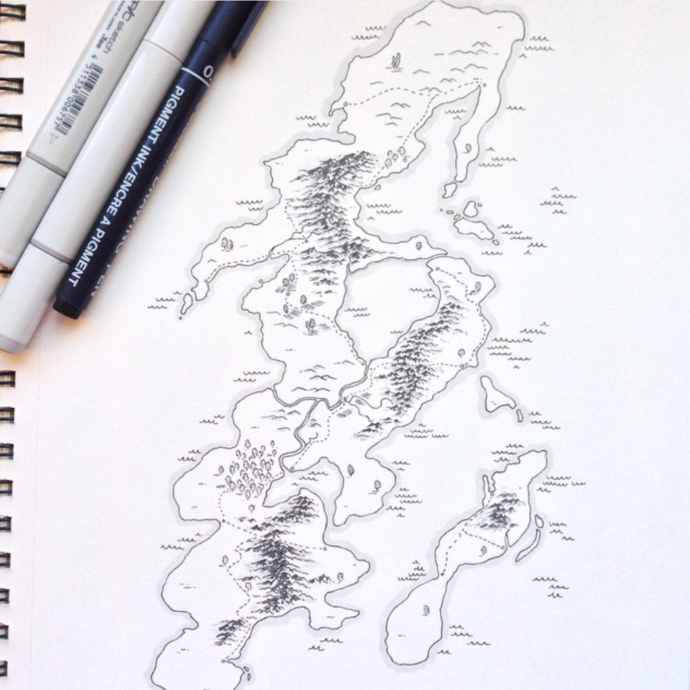 An example from my sketchbook of a doodle-map done in pen.