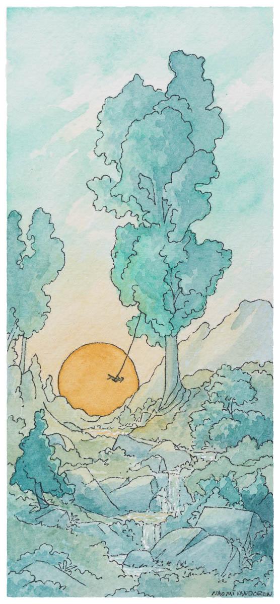Summer Swing - 2015 Watercolor & Pen.3.5 x 7 inchesOriginal Sold