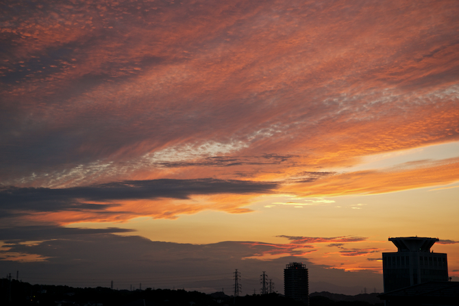 Sunset from our office window (Fuji is hiding behind clouds).