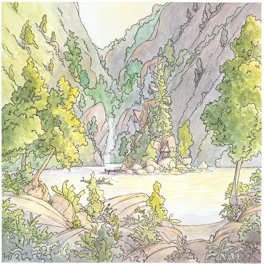 Island Village - 2015 Watercolor & Pen.8 x 8 inchesOriginal Available
