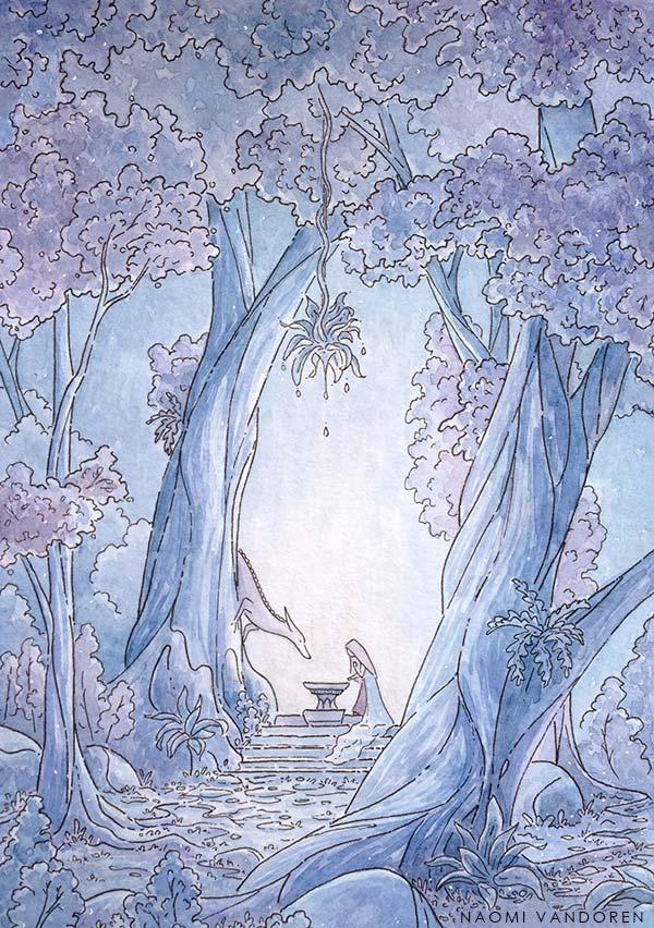 """""""Azure"""" 2015 Watercolor & Pen. 5 x 7 in Original Sold"""