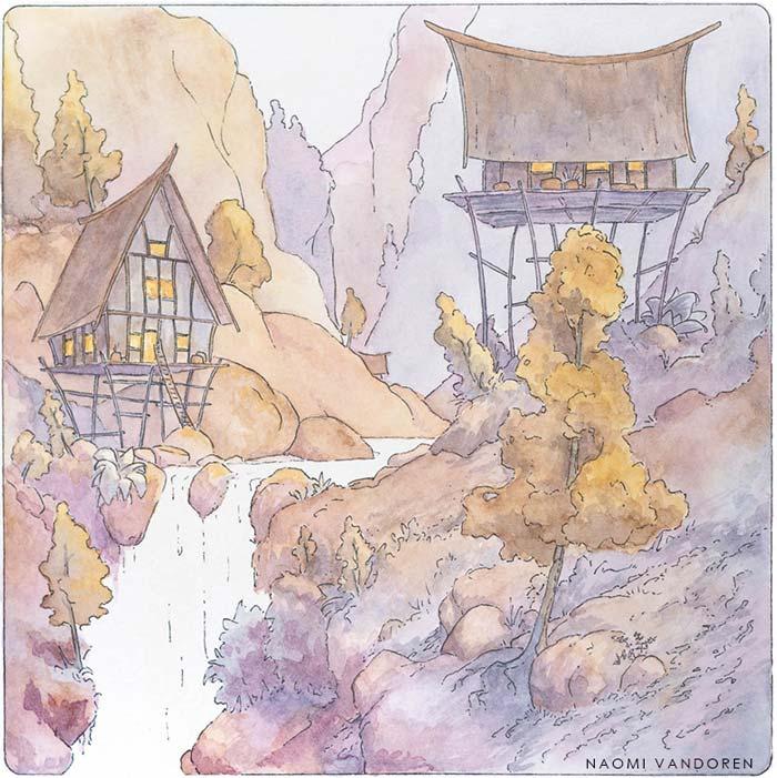 Canyon Village - 2015 Watercolor & Pen. 8 x 8 inchesOriginal Available | Prints & Merchandise