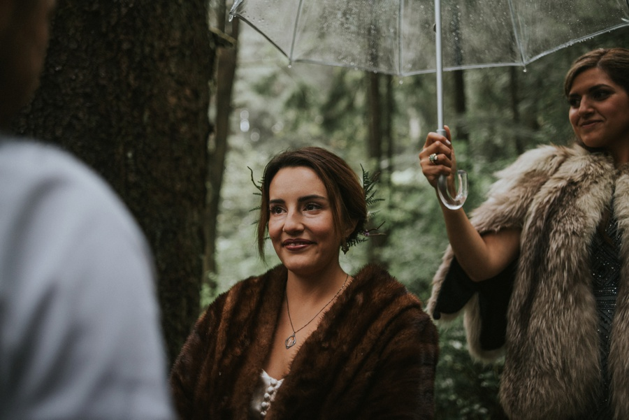 bride during rainy ceremony