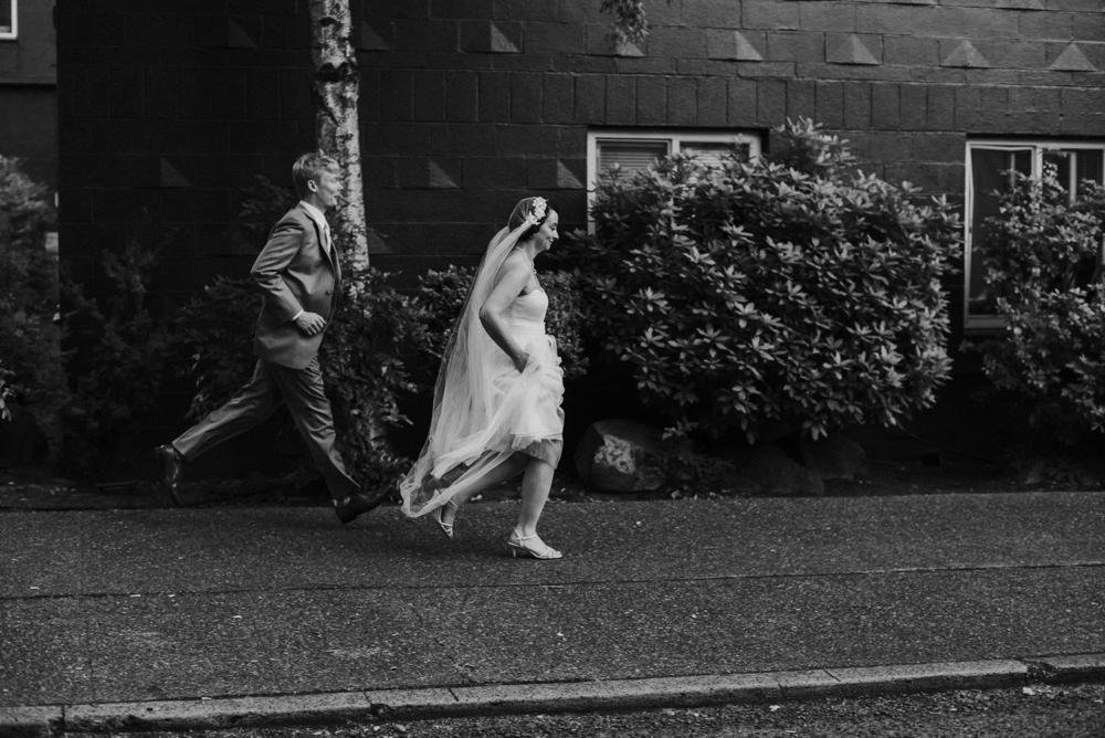 groom chasing bride