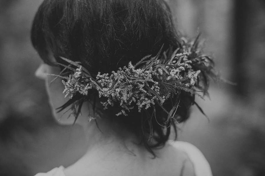 bridal hair style with floral crown