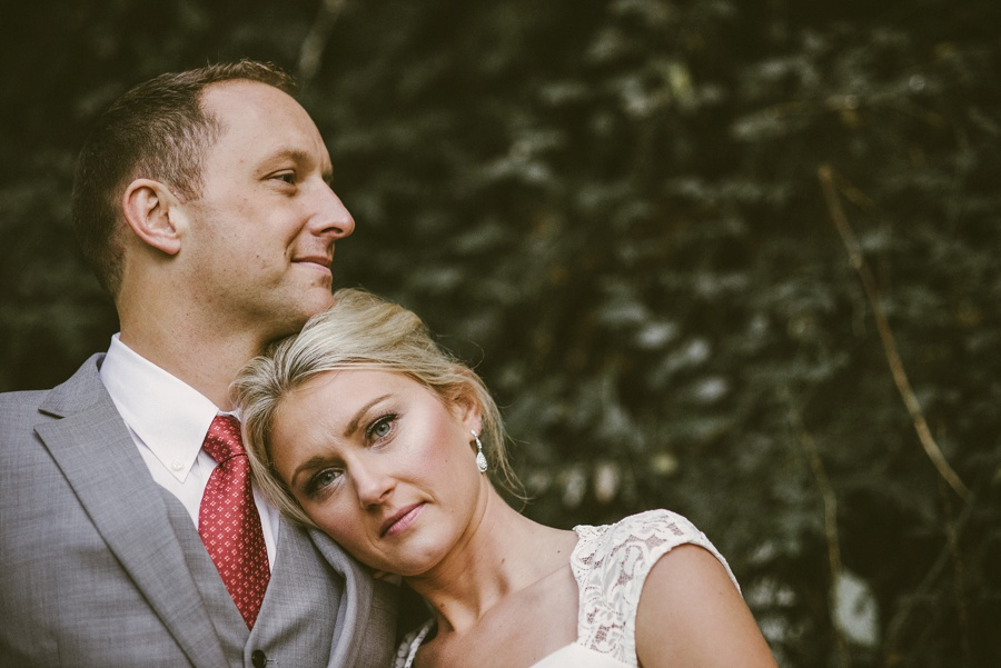 bride and groom fall portrait