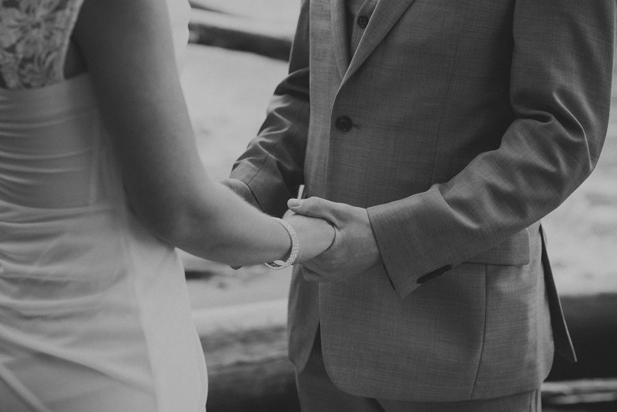 couple holding hands during tacoma elopement ceremony