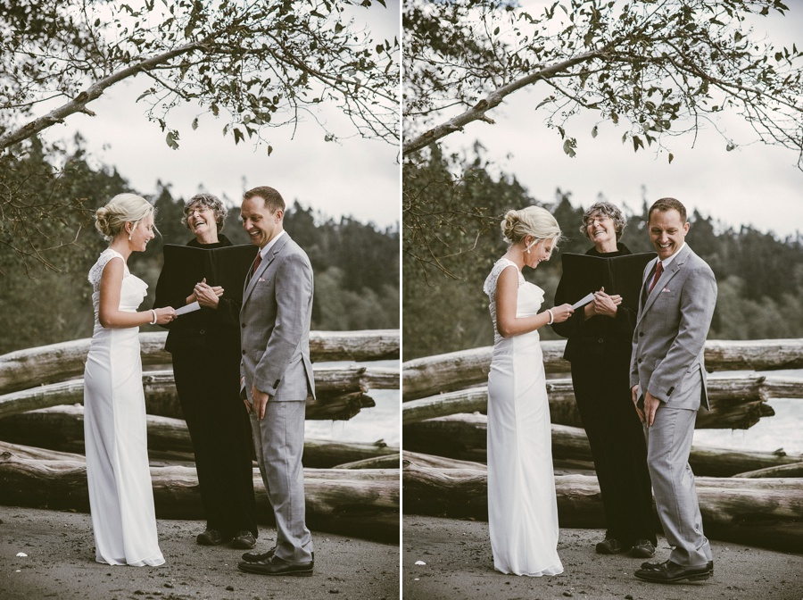 couple laughing during seattle elopement ceremony
