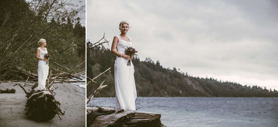 bride on the beach in whidbey island