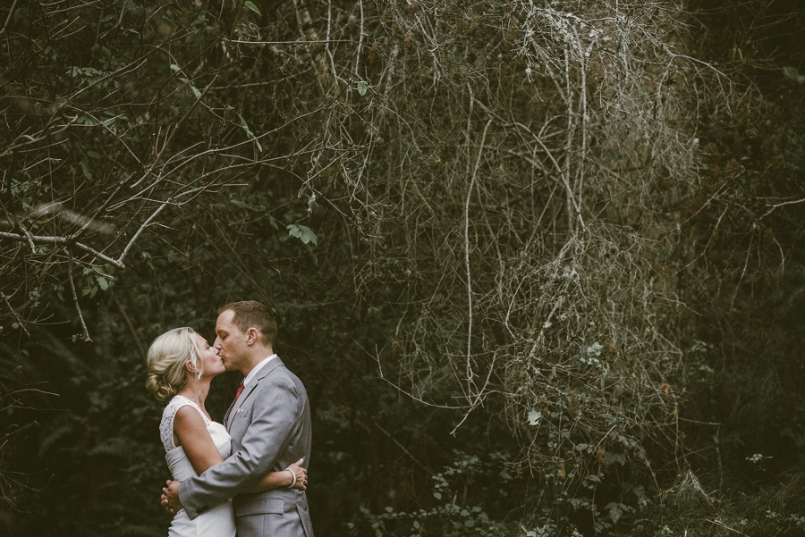 couple kissing whidbey island elopement photographer