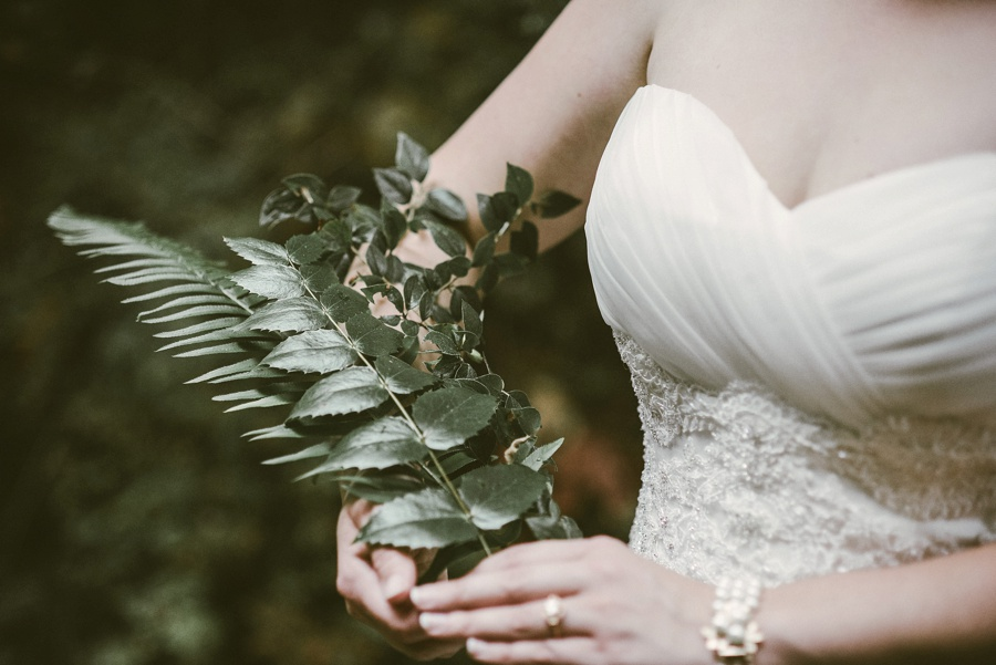 bride with forest bouquet