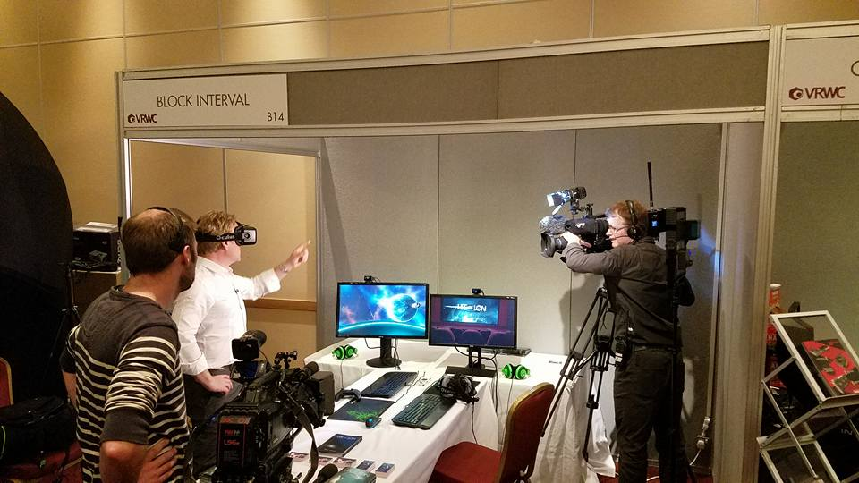 An anchor from the BBC trying out my game Life of Lon at the VR World Congress mid-April in Bristol UK.