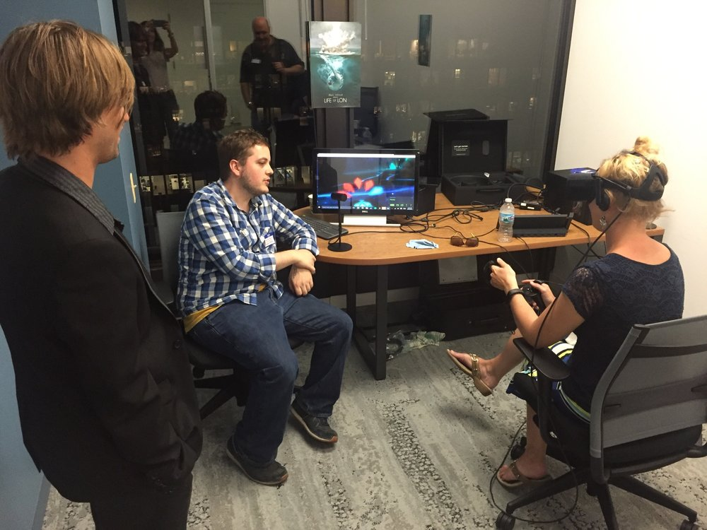 Here I am conducting a VR user test at the first  CHIVR  meetup in August, 2016