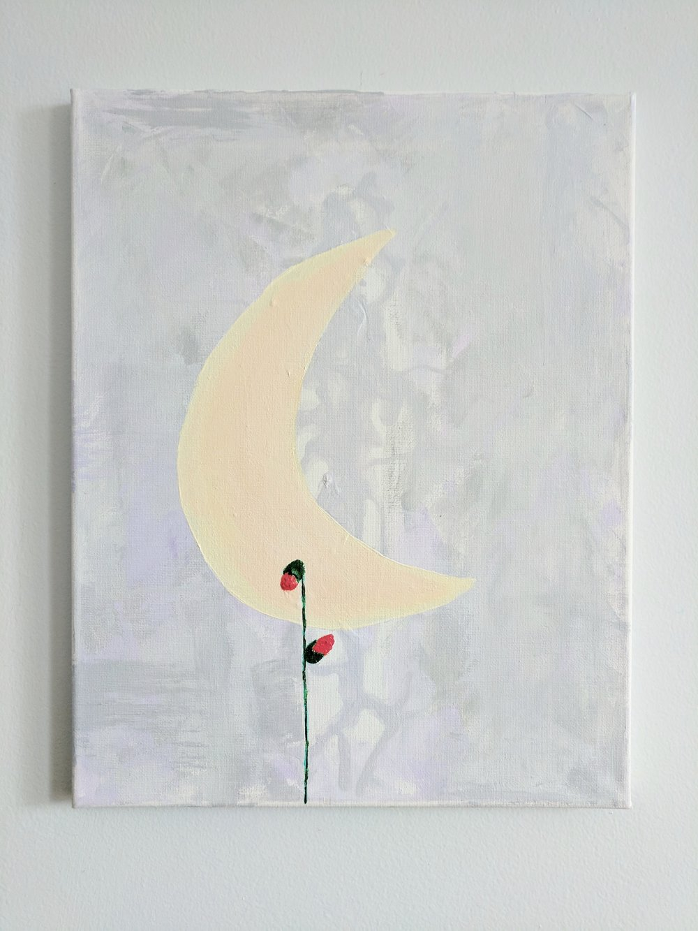 The backdrop to this piece is a silhouette of a mannequin that represents the suffocating melancholy of my soul during a depressive episode. The pale yellow and peach moon crescent represents the skinny light reflected off the sun and coming through in the darkness. The two floral buds connected by a stem expresses the cycles of rebirth between light and dark.