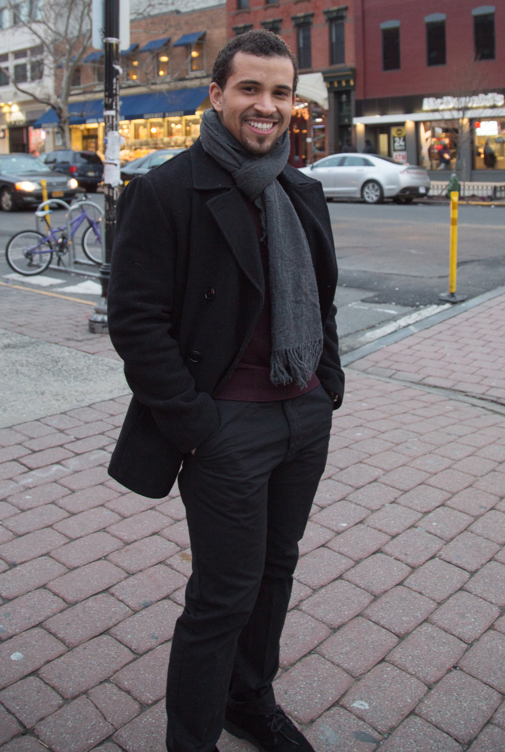 Sweater: American Eagle, Pants: H&M, Coat: Kenneth Cole, Scarf: American Eagle, Shoes: Clarks