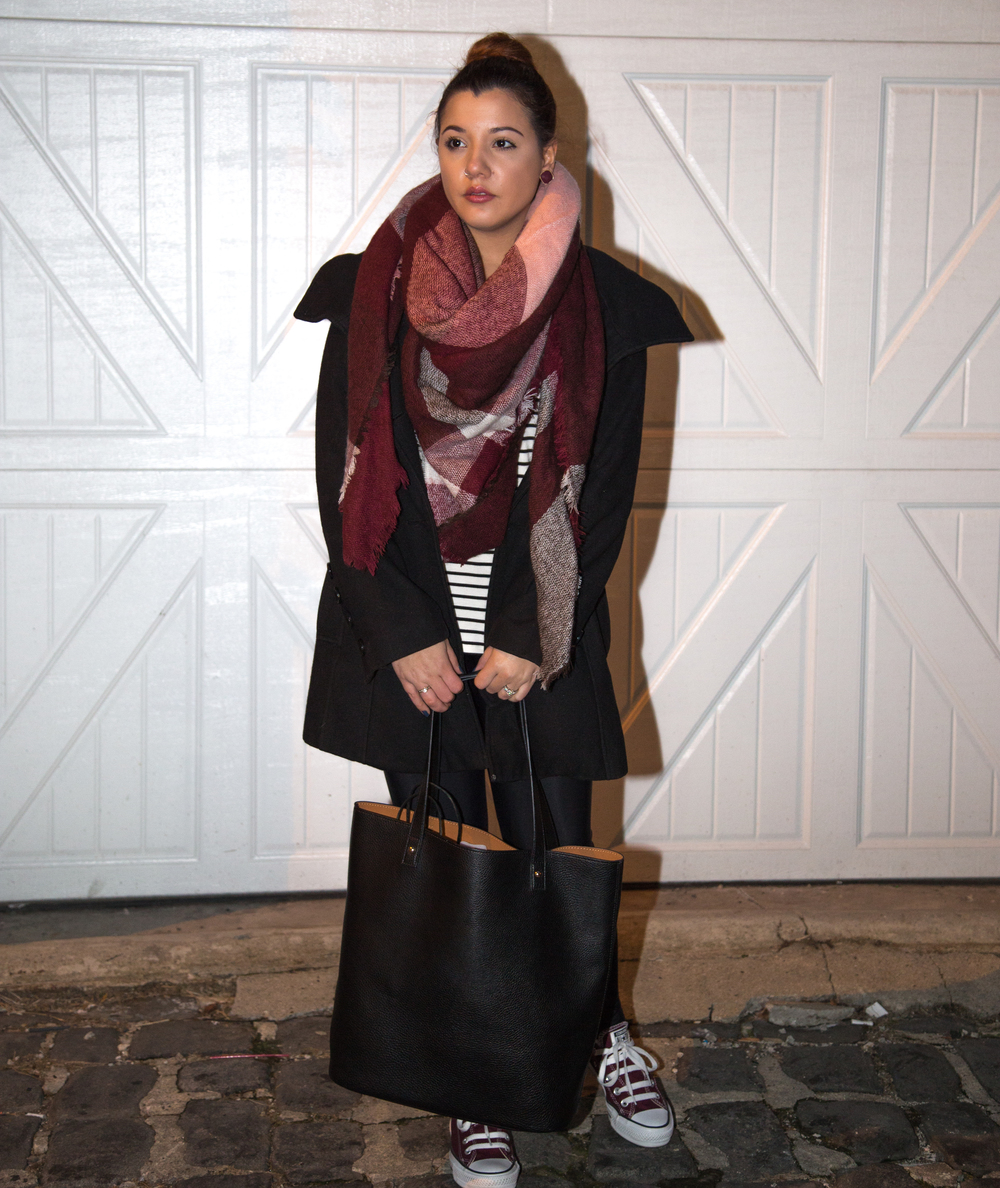 Tights: Express, Sneakers: Converse, Striped shirt: American Eagle,  Coat: American Rage (Macy's), Bag: Forever 21, Blanket Scarf: American Eagle