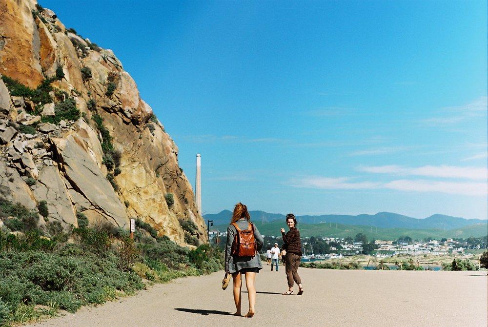 Walking Morro Rock California Analogue Travel Photographer
