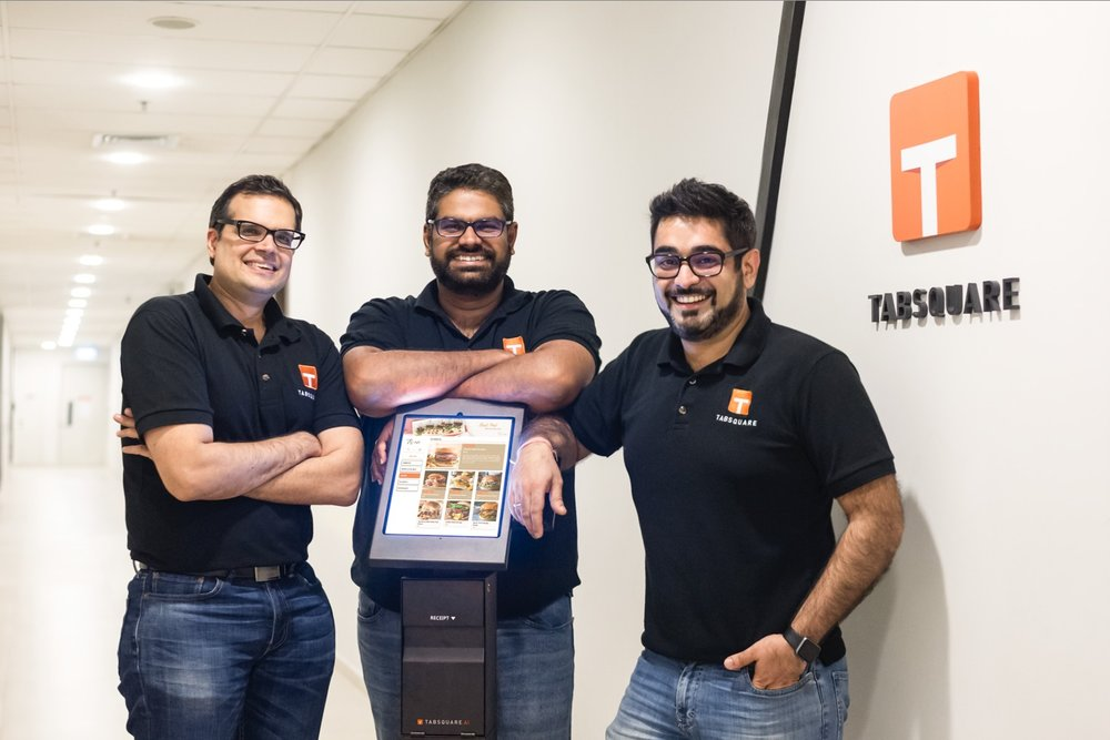(TabSquare Co-Founders, left to right: Chirag Tejuja, Sankaran Sreeraman, Anshul Gupta)