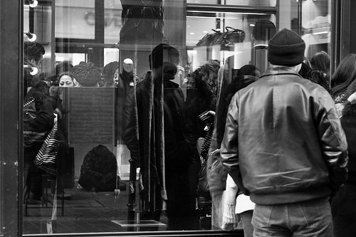 thrsxtfv: Day 6 /365 Sonia Rykiel First day of the sales today. I'm broke and I don't care so fuck that, but, please take a moment and tell me if you had noticed the person sitting on the pavement (in the reflection) when you first saw the picture.