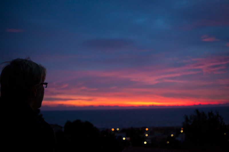 Dad looking at sunrise, december 21st 2010 (Leucate, France).
