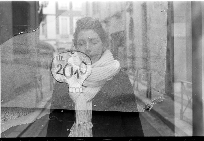 """""""RIP 2010"""" Milena, Toulouse 2011 Kodak Tri-X 400, triple exposure"""