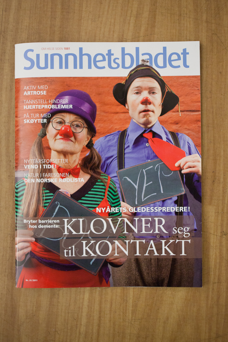 "Another frontpage! :) This time for the norwegian magazine ""Sunnhetsbladet"". More pictures from that shoot on my portfolio, here. Check out the work klokkeklovnene is doing with elderly people with dementia."