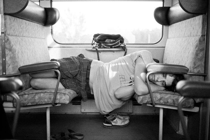 Somewhere in ex-Yougoslavia. Sleeping in trains.