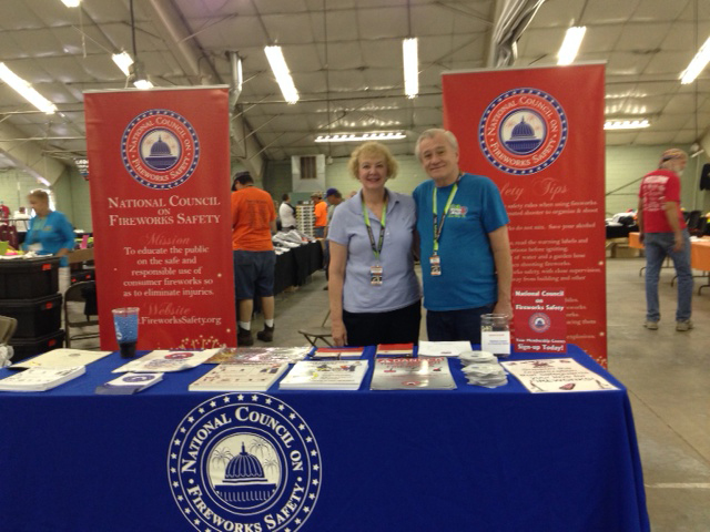 National Council Vice-President Jack Leonard, and his wife, Barbara, exhibiting at the Pyrotechnics Guild International Convention in Mason City, Iowa.
