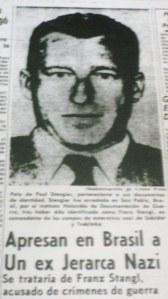 Artykuł w brazylijskiej gazecie na temat schwytania Franza Stangla (źródło:  www.ckalman.wordpress.com )