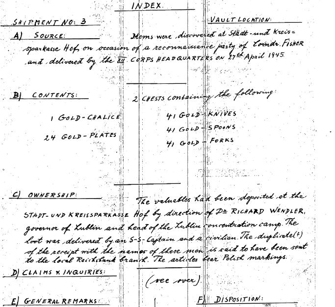 Raport na temat dóbr z lubelskiego obozu koncentracyjnego zdeponowanych w miejskiej i okręgowej kasie oszczędnościowej w Hof na polecenie dr Richarda Wendlera, sporządzony przez amerykańskich żołnierzy, którzy znaleźli w niem. miejscowości Hof dwie skrzynie zawierające wartościowe przedmioty (m.in. 1 złoty kielich, 24 naczynia liturgiczne ze złota, 41 złotych noży, 41 złotych łyżek, 41 złotych widelców), 27 kwietnia 1945 roku (źródło:   nick.salon24.pl/589670,ss-gruppenf-hrer-wendler-i-skrzynie-lupow-z-polskich-kosciolow)