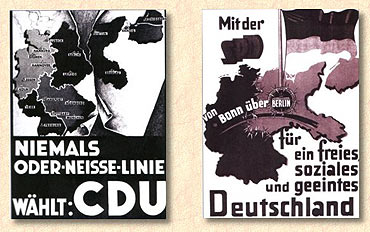 Plakaty wyborcze niemieckich partii CDU i SPD, kwestionujący granicę na Odrze i Nysie   (źródło:  www.iswinoujscie.pl )