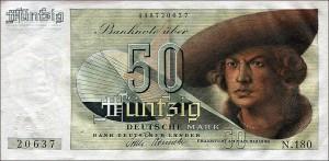 50 DM po reformie (źródło:  http://www.rothenburg-unterm-hakenkreuz.de/waehrungsreform-1948-schlangestehen-fuer-40-deutsche-mark/ )