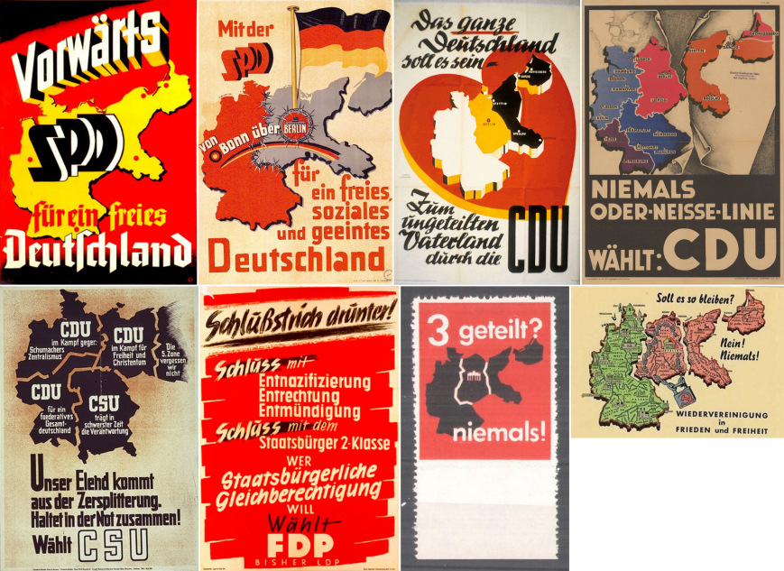 Niemieckie plakaty wyborcze po II wojnie światowej (źródło:   https://deutscherfreigeist.wordpress.com/souveranitat-und-rechtsstaatlichkeit-in-deutschland/ )