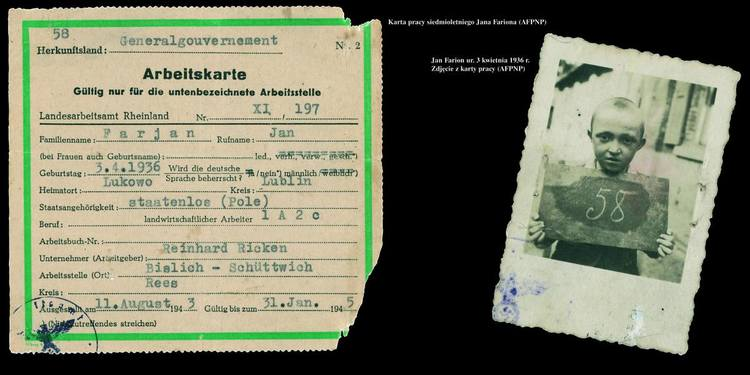 """Photo and work card of a seven-year old Jan Farjan, born April 3rd, 1936 (fragment of """"Save the memory"""" exhibition panel from 2005), source: AFPNP"""