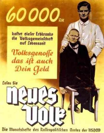 T4 Euthanasia programme's propaganda poster  (source:    dws-xip.pl/reich/zaglada/t4.html   )