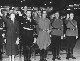 Hitler Youth rally, Berlin Sportpalast, February 13, 1939: Reichsfrauenführerin Gertrud Scholtz-Klink, Reichsführer-SS Heinrich Himmler, Rudolf Hess, Reichsjugendführer Baldur von Schirach, HJ-Obergebietsführer Artur Axmann; SS-Oberführer Ludolf von Alvensleben standing behind Himmler.