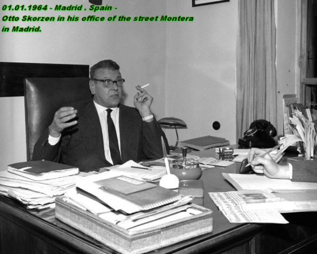 Otto Skorzeny in his office in Madrid, 01.01.1964 (source:   http://ww2-militarystore.yolasite.com/otto-skorzenys--unternehmen-eiche.php  )