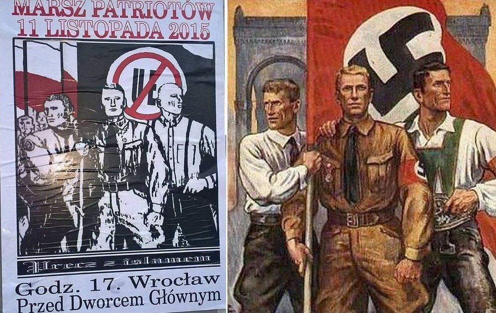 Fot.:   Zaproszenie na marsz ONR wzorowany na oryginalnym nazistowskim plakacie, dwa tygodnie po wygranych przez PiS wyborach parlamentarnych.