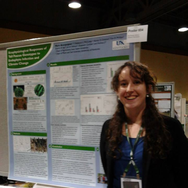 Marie Bourguignon with her poster at the ASA-CSA-SSSA conference in Long Beach, CA.