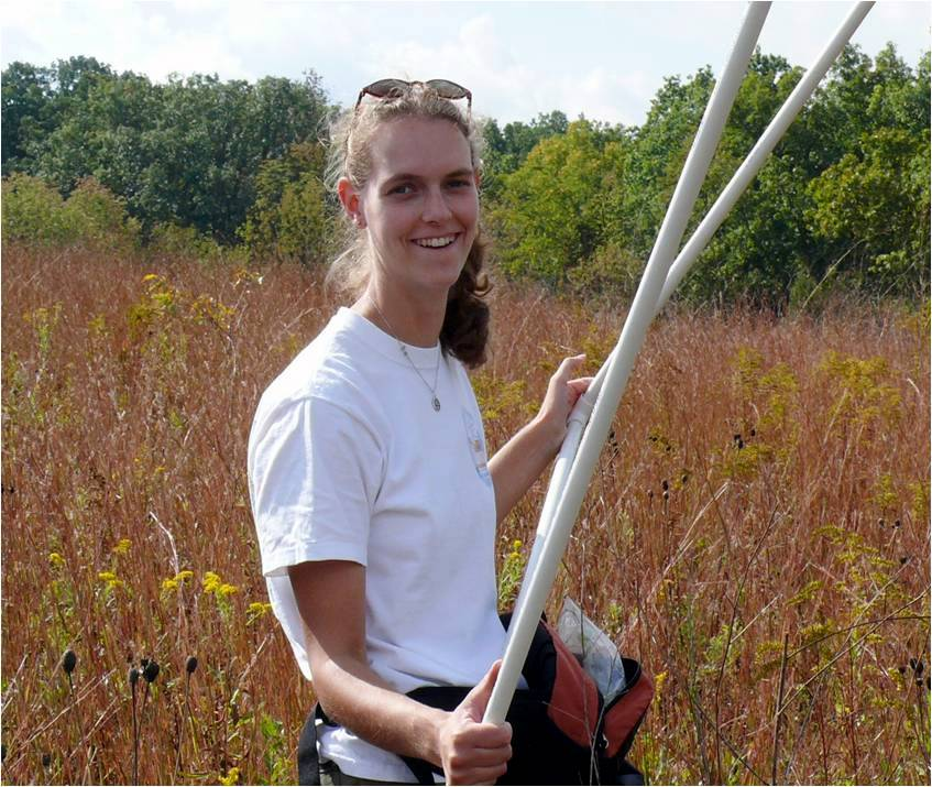 Sarah in a restored grassland