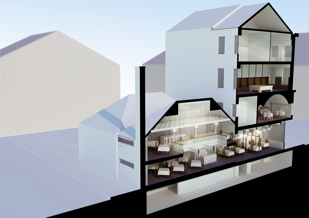 Conceptual image of 217 Sauchiehall Street, The Willow Tea Rooms restored.
